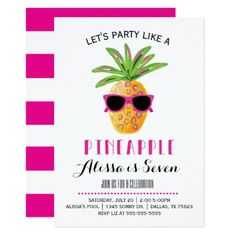 Party Like A Pineapple Birthday Invitation - click to get yours right now! #birthday #birthdayparty #party #invitation #kids #children #illustration #illustrations #cute #sweet #animal #animals #editable #pink #girls