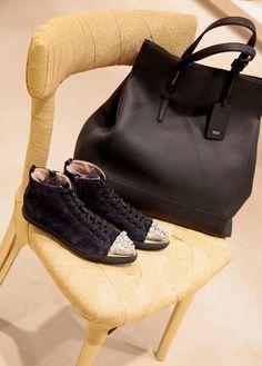 'Amanda' bag from Agnona and dark blue suede sneakers from Miu Miu. shop.wunderl.com