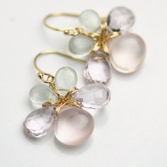 Flower Earrings Rose Quartz Amethyst Aquamarine por fussjewelry, $88.00