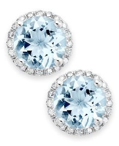 Make sure your something blue is also something sparkly! Beautiful diamond and aquamarine stud earrings are a classic finishing touch for traditional brides.