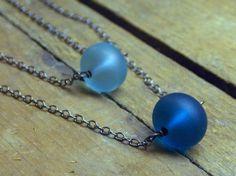 Blub, Blub, A sea Bauble. Upcycled Turquoise & Teal Sea Glass handmade boho necklaces