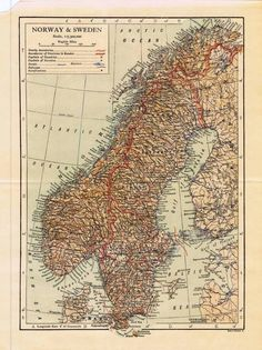 1910 Antique Old Map Norway Sweden