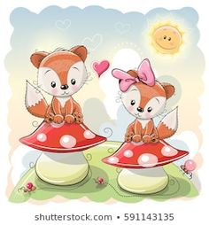 Illustration about Two Cute Cartoon Foxes are sitting on mushrooms. Illustration of meadow, couple, beautiful - 77911455 Cute Cartoon Girl, Cute Cartoon Animals, Bear Cartoon, Cartoon Kids, Cute Animals, Kids Cartoon Characters, Cute Characters, Fox Stock, Baby Shower Greeting Cards