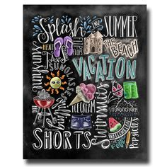 Vier seizoenen 4 seizoenen Wall Art schoolbord door TheWhiteLime