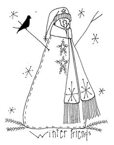 snowman preschool s winter coloring pages printable and coloring book to print for free. Find more coloring pages online for kids and adults of snowman preschool s winter coloring pages to print. Broderie Primitive, Primitive Embroidery, Primitive Stitchery, Primitive Patterns, Christmas Embroidery, Vintage Embroidery, Embroidery Applique, Cross Stitch Embroidery, Embroidery Patterns