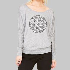 ac9eeaa6 Womens Dolman Top // Sacred Geometry Shirt, Work T Shirt, Plus Size Tees,  Scoop Boat Neck, Bella Flowy