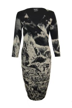 ISABEL DE PEDRO BEIGE AND BLACK PRINT DRESS