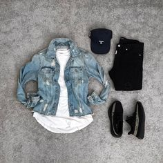 ID on the denim jacket anyone? Dope Outfits For Guys, Cool Outfits, Casual Outfits, Men Casual, Fashion Outfits, Hype Clothing, Mens Clothing Styles, Urban Fashion, Mens Fashion