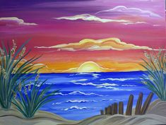 Beach Paintings for Beginners - Bing images Beach Sunset Painting, Summer Painting, Sunset Art, Ocean Sunset, Beach Paintings, Easy Canvas Painting, Simple Acrylic Paintings, Painting & Drawing, Canvas Art