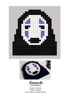 Kaonashi - No Face - Chihiro - Spirited Away - hama beads - pattern