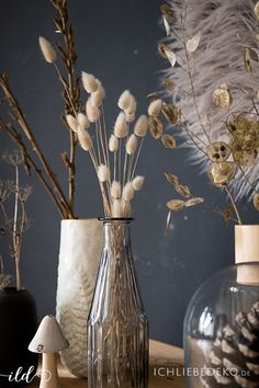 Autumn decoration: grasses & Co. beautifully decorated in vases- Herbstdekoration: Gräser & Co. schön in Vasen dekoriert Grasses and dried flowers in simple vases as autumn decoration - Cool Christmas Trees, Christmas Ad, Love Decorations, Fleurs Diy, Diy Décoration, Autumn Trees, Autumn Inspiration, Pretty Flowers, Dried Flowers