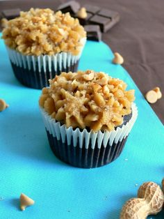 Peanut Butter Chocolate Cookie Dough Cupcakes. Does it get any better than this?