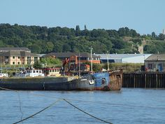 Ships moored in the Medway River at Strood [shared]