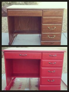 Refinish furniture without sanding. for desk. put desk under vanity in master bath
