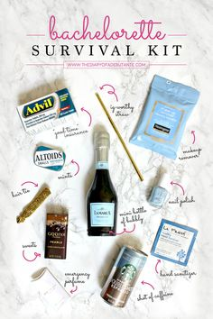 DIY Bachelorette Survival Kit Are you a Maid of Honor who's planning your bestie's bachelorette party? Don't forget your DIY Bachelorette Survival Kit! From the box to the bachelorette favors, this post is full of survival ideas that all girls (especially Bachlorette Party, Bachelorette Gift Bags, Bachelorette Party Decorations, Bachelorette Weekend, Bachelorette Survival Kits, Hen Party Survival Kit, Survival Tips, Wilderness Survival, Bachelorette Hangover Kits