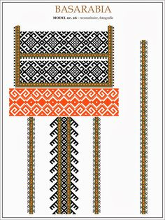 traditional Romanian pattern - north of Bessarabia Folk Embroidery, Cross Stitch Embroidery, Embroidery Patterns, Cross Stitch Patterns, Knitting Patterns, Cool Patterns, Beading Patterns, Romanian Lace, Point Lace