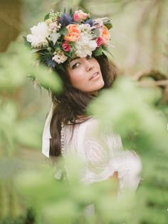 Floral Boho Woodland Headdress designed and created by Hannah Berry Flowers.