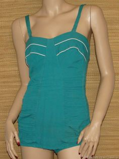 Vintage Teal Green Catalina Sculptured Corseted Swimsuit Size 12 / 34 Free Shipping in USA | eBay #vintageswimwear #catalina