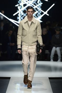 Quilted, opaque Nappa jacket with removable sheepskin collar, striped angora scarf, calfskin high-top shoes #CanaliFW15 #mfw #FW15 #moda #menswear #jacket