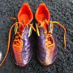 adidas soccer cleats  purple orange and green  size 6.5 in men's  size 8.5 women's Adidas Cleats, Soccer Cleats, Orange, Purple, Sneakers, Green, Shoes, Fashion, Tennis