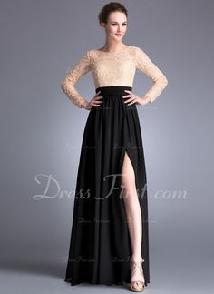 A-Line/Princess Scoop Neck Floor-Length Chiffon Lace Evening Dress With Beading Sequins Split Front (017042345)   Top en rok in dezelfde kleur, bv Black of Dark Blue!