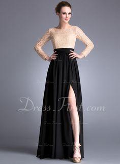 A-Line/Princess Scoop Neck Floor-Length Chiffon Lace Evening Dress With Beading Sequins Split Front (017042345)   Top en rok in dezelfde kleur, bv Black of Dark Blue!