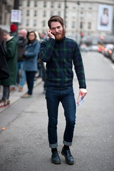 jeans jacket coat beard hair winter shoes leather denim streetstyle fashion style men tumblr hipster