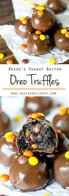 Peanut Butter Oreo Truffles {Stuffed with Reese's Peanut Butter Cups and Reese's Pieces} Reese's Peanut Butter Oreo Truffles. Oreos, cream cheese, Reese's Peanut Butter Cups and Reese's Pieces together in a bite-size, chocolate dipped treat. Peanut Butter Cups, Truffle Butter, Peanut Butter Chocolate Cake, Köstliche Desserts, Delicious Desserts, Dessert Recipes, Yummy Food, Health Desserts, Best Chocolate