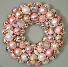 Christmas Ornament Wreath Pastel Pink by judyblank on Etsy