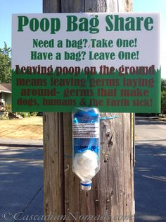 LOVE this DIY Community Poop Bag Share Station by my friends @CascadianNomads #ScoopThatPoop