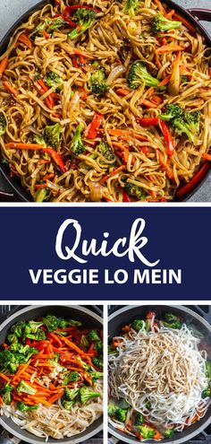 Quick veggie lo mein, the perfect easy family dinner. This recipe is better than any takeout. Easy Meatless Dinner Recipe, Fall Dinner Recipes, Veggie Dinner, Vegetarian Recipes Dinner, Vegetable Recipes, Healthy Recipes, Healthy Lo Mein Recipe, Meatless Dinner Ideas, Vegetarian Lo Mein