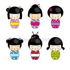 Muñecas kokeshi en varios diseños, aislados sobre fondo blanco. formato del vector Eps10