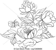 Vector - Ink Painting of Peony. - stock illustration