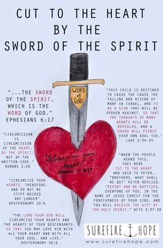 Cut to the Heart by the Sword of the Spirit - Surefire Hope - Bible Study Spiritual Warfare Scripture, Receiving The Holy Spirit, Sword Of The Spirit, Seek The Lord, 2 Peter, Bible Notes, Armor Of God, Christian Memes, Bible Knowledge