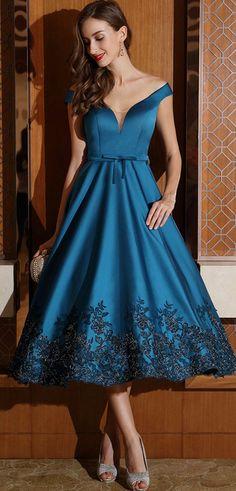 eDressit Designer Blue Off Shoulder Party Dress for Women