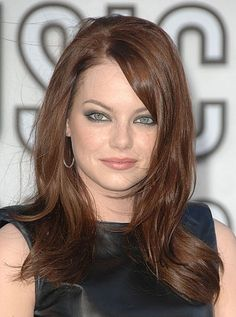 hair colors, red hair, long hairstyles, face shapes, round face, emma stone, latest hairstyles, long haircuts, bang