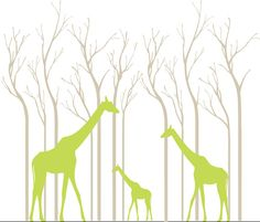 Safari wall decal  silhouette white birch trees by couturedecals, $129.00