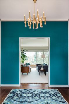 Love the teal walls with dark wood floor.    Teal Copper Bedroom Design, Pictures, Remodel, Decor and Ideas - page 6