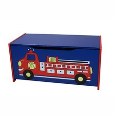 Loading up a fire engine is way more fun than picking up toys. Make clean-up time a rush with the Gift Mark Fire Engine Toy Box with Safety Hinge. This toy box made of durable medium-density fiberboard is blue and red with a red-and-yellow fire engine on the front. Its flip-open lid has a safety hinge to prevent little fingers from being pinched. Place in a bedroom family room or basement - anywhere you need tidy storage for toys. Your little fir