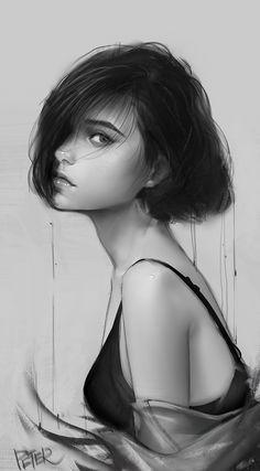 New Girl, Peter Xiao - nimivo sites Digital Art Girl, Digital Portrait, Portrait Art, Character Portraits, Character Art, Art Sketches, Art Drawings, Anime Art Girl, Cute Art