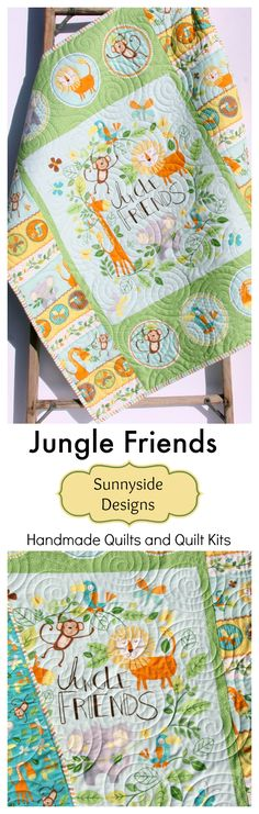 Jungle Animals Handmade Baby Quilt, Baby Quilt for Sale, Jungle Safari Animals Giraffe Lion Monkey Elephant, Gender Neutral Boy or Girl Bedding Quilt, Green Yellow Orange Light Blue, Baby Quilt Kit, Beginner Quilt Kit, Easy Quick Craft Project DIY Sewing Ideas by Sunnyside Designs