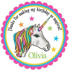 Unicorn Stickers, Unicorn Birthday Party, Birthday party, Birthday, Children, Labels, favor stickers, set of 12 on Etsy, $6.00