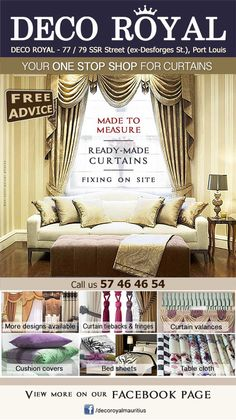 DECO ROYAL - Your ONE-STOP-SHOP for curtains and accessories. Tel: 5746 4654