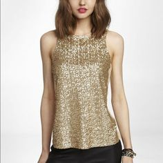 """Express NWT Gold Sequin top New with tag gold sequin top.  ---  MEASUREMENTS Shoulders: 11"""" Chest: 13.5"""" Waist: 17"""" Length: 25.5""""  --- 0014 Express Tops"""