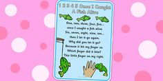 1 2 3 4 5 Once I Caught a Fish Alive Nursery Rhyme Poster - rhyme, 12345 once i caught a fish alive