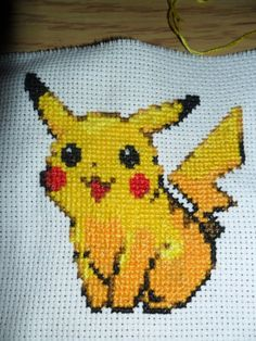 Awesome Pikachu cross stitch!