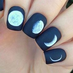 Nail inspiration from all the phases of moon. Get some nail art ideas from moon nails. Get this style easily through Fabogo in Mumbai, Pune and Dubai Cute Nail Art, Cute Nails, Pretty Nails, Fancy Nails, Diy Nails, Nail Art Vernis, Moon Nails, Best Nail Art Designs, Popular Nail Designs