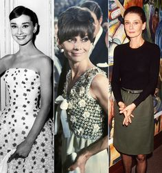 The always stylish Audrey Hepburn wearing a long sleeve black shirt tucked into a belted skirt