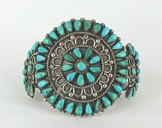 Authentic Vintage Native American Sterling Silver Turquoise Petit Point Cluster Bracelet