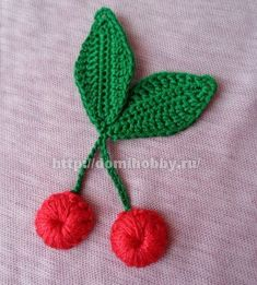 Вязаные вишенки Irish crochet lace cherry and leaves
